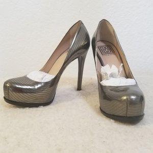 Pour la Victoire Irina Pewter Mirror Heels